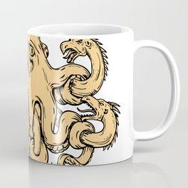 Giant Octopus Fighting Hydra Drawing Coffee Mug