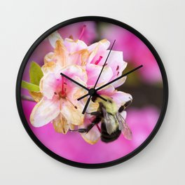 Pink Bee Wall Clock
