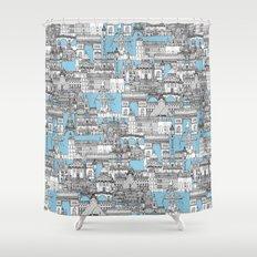 Paris toile cornflower blue Shower Curtain