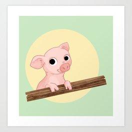 PIG ON THE FENCE Art Print