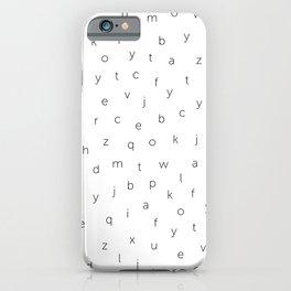 ABC alphabet back to school type pattern Black & White iPhone Case