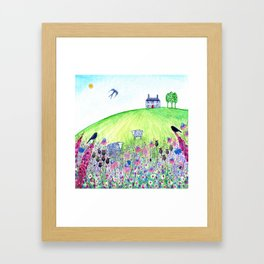 Summer Meadow, landscape painting Framed Art Print