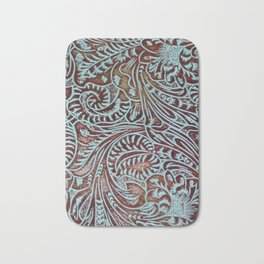 Light Blue & Brown Tooled Leather Bath Mat