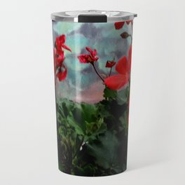 Red Geraniums Floral Red Abstract Travel Mug