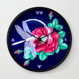 Full bloom | Dragonfly loves roses Wall Clock