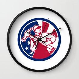 American Handyman USA Flag Icon Wall Clock