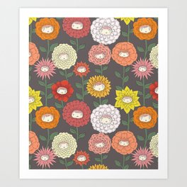 Talking Garden (gray) Art Print