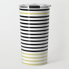 Black and White and Gold Stripes (Striped Pattern) Travel Mug