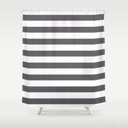 Gray and white lines Shower Curtain