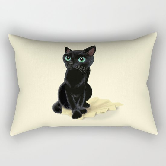 Black little kitty Rectangular Pillow