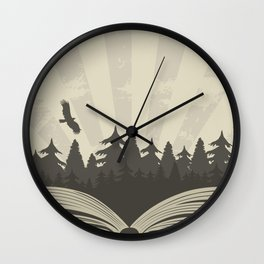 Dark forest in open book with raven Wall Clock