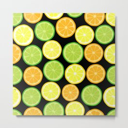 Citrus Slices on Black Metal Print