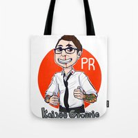 pacific rim Tote Bags featuring Pacific Rim Kaijuu Groupie  by TheDigitalPandora
