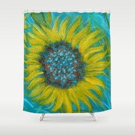 Sunflowers on Turquoise II Shower Curtain
