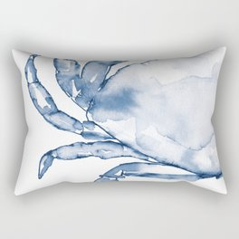 Coastal Crab in Watercolor, Navy Blue (Left Half in Set) Rectangular Pillow