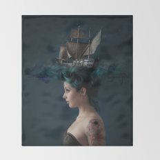 Sailing - Blue Throw Blanket