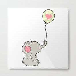 Elephant with Heart in Ballon Metal Print