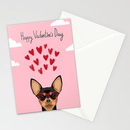 Chihuahua black and tan valentines day love hearts dog breed gifts cute chiwawa glasses Stationery Cards