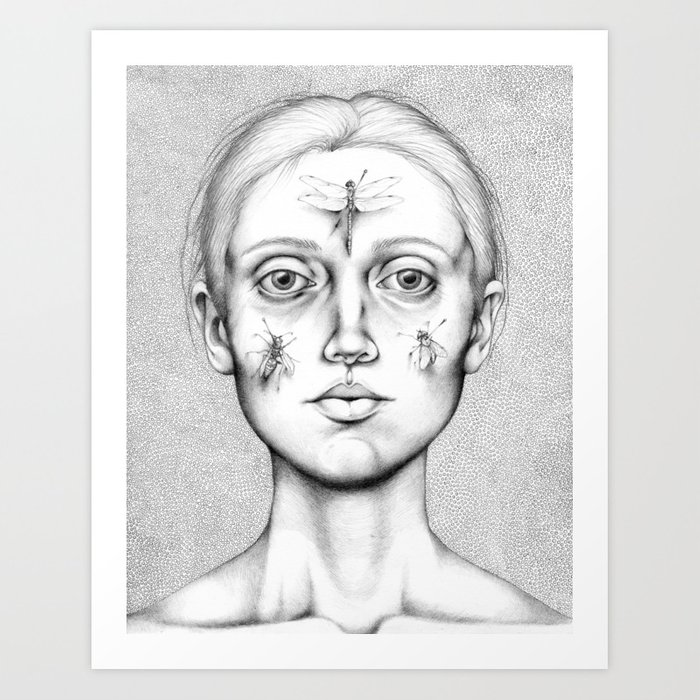Acus-punctum Insecta (Self Portrait Looking in a Mirror) Art Print