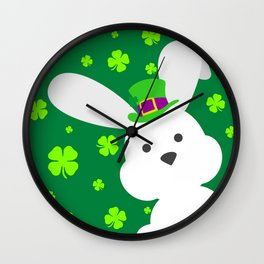 ST. PATRICK'S DAY BUNNY (abstract animals nature flowers happy irish, patricks) Wall Clock