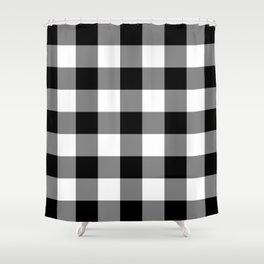 Black And White Buffalo Plaid Shower Curtain