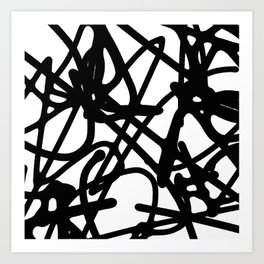 Meaningless - Black and white expressive painting Art Print