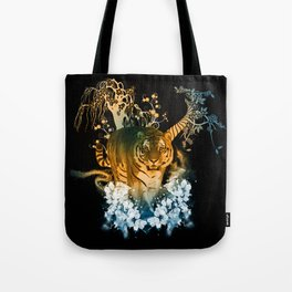 Beautiful tiger with flowers Tote Bag