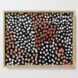 Drift abstract dots with metallic copper minimalist art print Serving Tray
