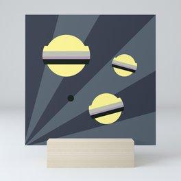 three yellow planets || night Mini Art Print