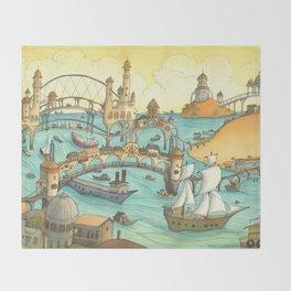 Ship City Throw Blanket