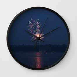Fireworks Over Lake 17 Wall Clock