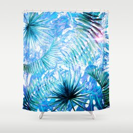 Aloha - Blue abstract Tropical Palm Leaves and Monstera Leaf Garden Shower Curtain