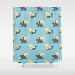 Waffles & Shark Shower Curtain