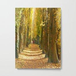 A Walk in the Poplars Metal Print