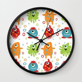 Friendly Frights on white background Wall Clock