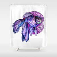 goldfish Shower Curtains featuring Goldfish by Slaveika Aladjova