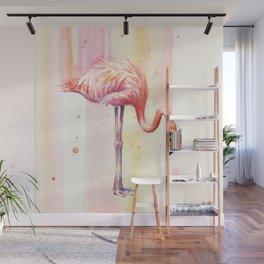 Pink Flamingo Watercolor Bird Animals Whimsical Animal Wall Mural