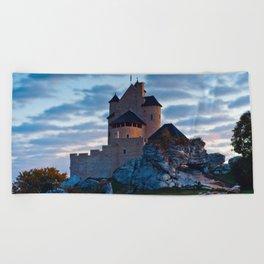 Medieval castle in Bobolice, Poland Beach Towel