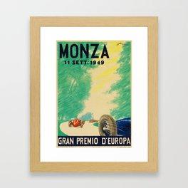 Grand Prix Monza, 1949, Gran Premio Monza, vintage poster Framed Art Print