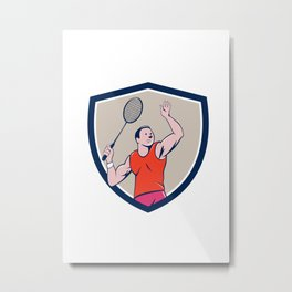 Badminton Player Racquet Striking Crest Cartoon Metal Print