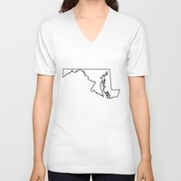 maryland V-neck T-shirts featuring Maryland by mrTidwell