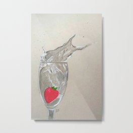 Strawberry dropped in a glass Metal Print
