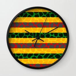 African Giraffe Multicolor Animal Print Wall Clock