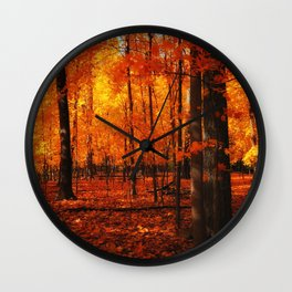Fall Trees (orange) Wall Clock