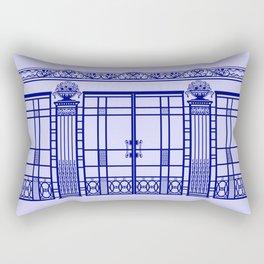 ART DECO, ART NOUVEAU IRONWORK: French Blue Rectangular Pillow