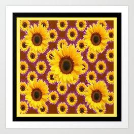 Brown & Violet Accents Color Sunflowers Pattern Black Art Art Print