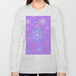 LILAC PURPLE WINTER SNOWFLAKES Long Sleeve T-shirt