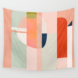 shapes modern mid-century peach pink coral mint Wall Tapestry