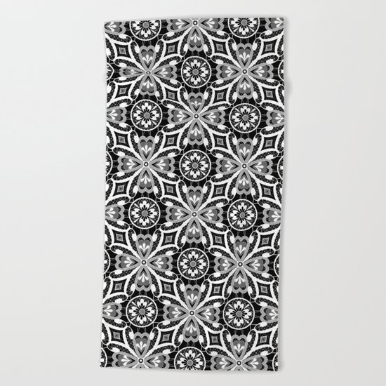 Retro . Lace black and white pattern . White lace on a black background . Beach Towel