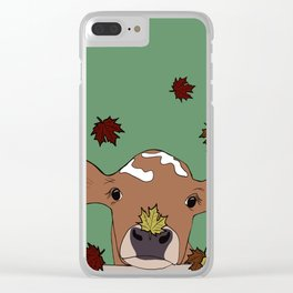 Bessie the Calf and Fall Leaves Clear iPhone Case